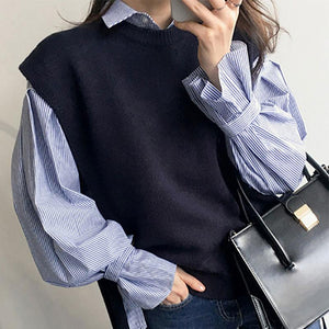 Fashion Long Sleeve Striped Shirt And Sweater Vest Two Pieces Suit