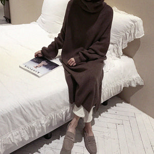 Fashion Simple Loose High Collar Knitted Maxi Dress