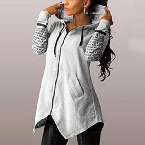 Hoodie Slim Irregular Hem Hooded Coat