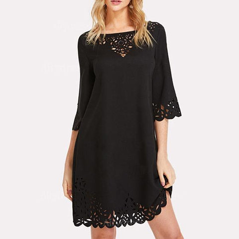 Round Neck  Cutout  Plain Shift Dress
