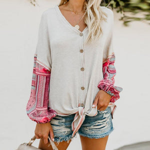 Fashion Patchwork Long Sleeve V Neck Button Lace Up T-Shirts