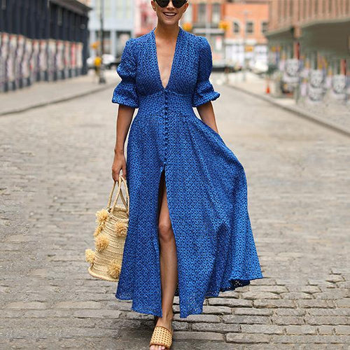 Women Sexy Deep V-Neck Maxi Dress