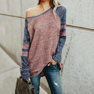 One Shoulder  Color Block Casual T-Shirts