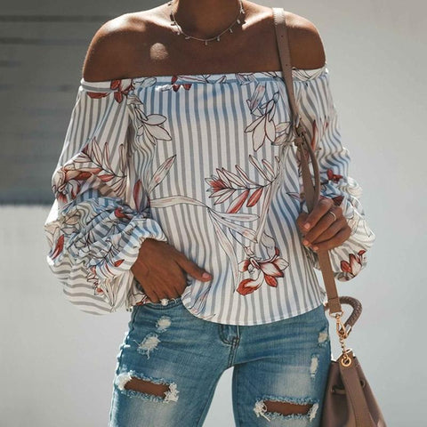 Fashion Sexy Printed One-Shoulder T-Shirt
