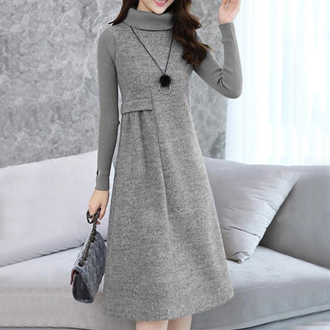 High Neck  Plain Choker Shift Dress