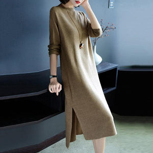 Round Neck  Side Slit  Plain Shift Dress