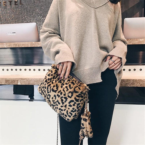 Fashion Fleece Single Shoulder Slanted Across Handbag