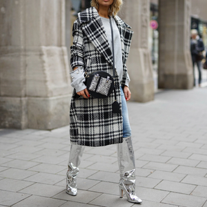 Chic Lapel Collar White Black Check Woolen Long Coat