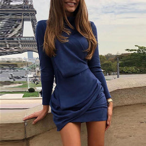Casual Suede Fabric Long Sleeve Slim Pure Colour Mini Dresses
