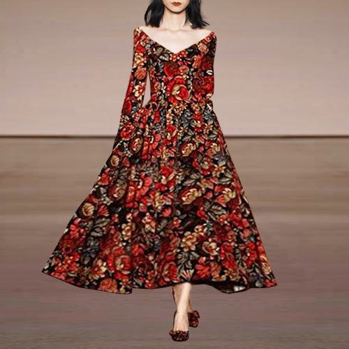Flash Sale Deep V Retro Floral Printing Maxi Dress