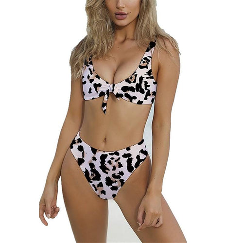 Vacation Sandbeach   Sexy Leopard Print Knotted Swimsuits Bikini