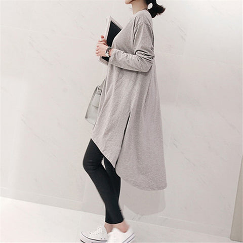 Fashion Round Collar Long Sleeve Pure Color Maxi Dress
