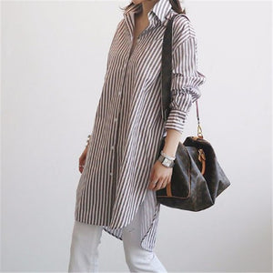 Fashion Long Sleeve Loose Strips Shirt