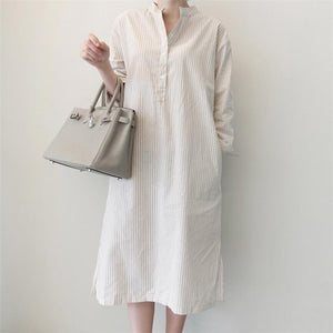 Fashion Loose Show Thin Long Sleeve Strips Maxi Dress