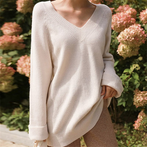 Fashion Loose V Neck   Knitted Sweater Blouse