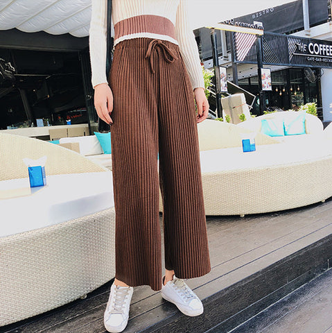 High Waist Lacing   Knitted Wide-Legged Trousers