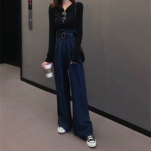 Stylish High-Waisted   Straight Jeans