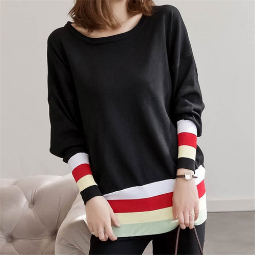 Casual Loose Stripe Stitching Knitted Hoodie