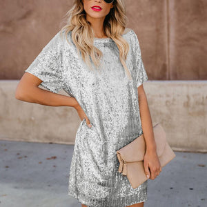 Sequined Splicing Short-Sleeved Mini Dress