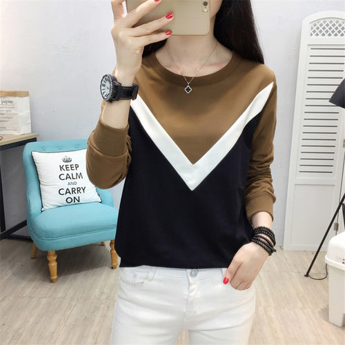 Casual Loose Plus Size Long Sleeve Stitching Color Collision Hoodies Blouse
