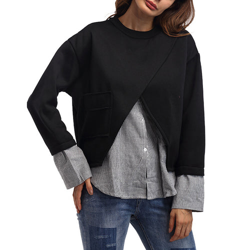 Casual Strips Spliced  Fake Two Pieces Hoodie Blouse