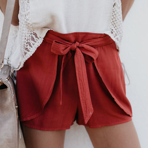 Casual Loose  Tie High Waist Show Thin Pure Color   Shorts  Knickers