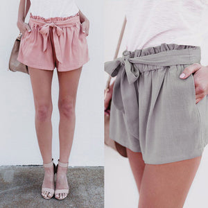 Casual Loose Tie High Waist Show Thin Pure Color Wide Leg Shorts Knickers