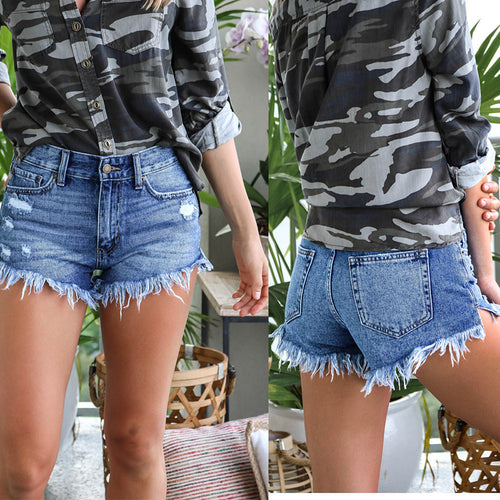 Casual High Waist Show   Thin Ripped Jeans Shorts