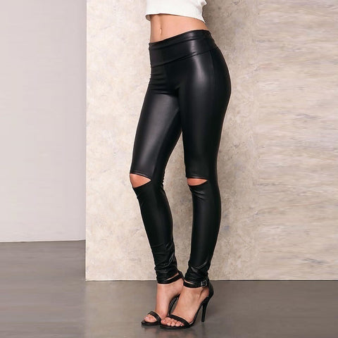 Casual High Waist Slim   Show Thin Ripped PU Tight Pants Chaparajos
