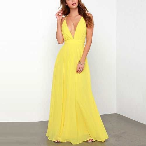 Casual Sexy Deep V   Neck Backless Pure Color Sling Maxi Dresses