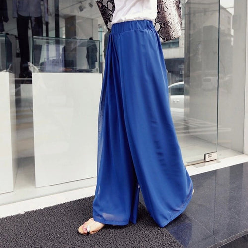 Casual High Waist   Loose Slim Bohemian Style Pure Color Chiffon Wide Leg Pants