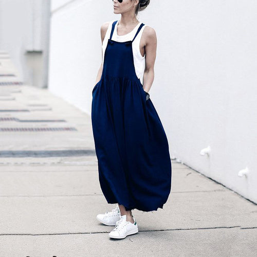 Casual Sexy Loose Pure   Color Sling Maxi Dresses