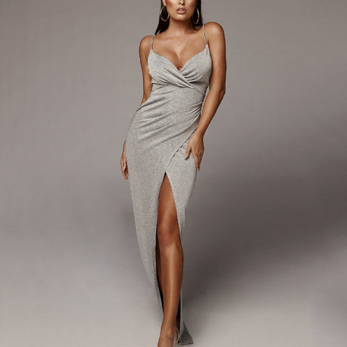Casual Sexy Deep V   Neck Backless Slim Show Thin Sling Maxi Dresses