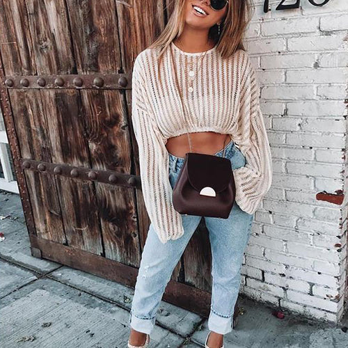 Casual Sexy Hollow Out   Short Style Knitted Sweater Shirt Blouse