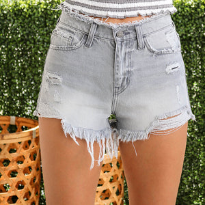 Casual Sexy High Waist   Slim Show Thin Tassels Ripped Jeans Shorts Pants