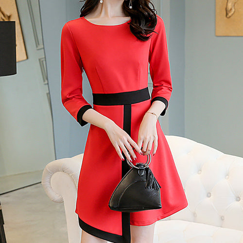 Casual Loose Plus Size Color Collision   Stitching Middle Sleeve Slim Mini Dress