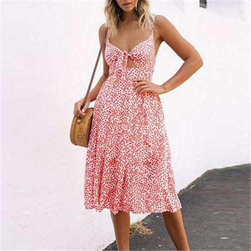 New Deep V Collar Strappy Floral Printed Vacation Dress