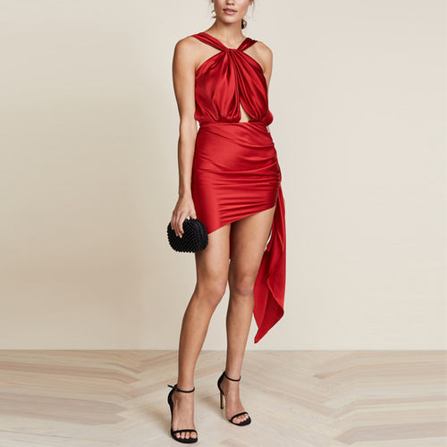 Casual Sexy Backless   Frenulum Off The Shoulder Pure Color Mini Dresses