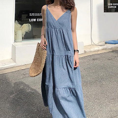 Casual Sexy V Neck   Pure Color Sling Maxi Dresses
