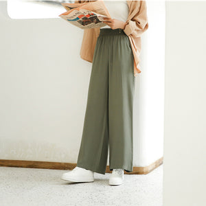 Casual Loose High   Waist Slim Pure Color Wide Leg Pants