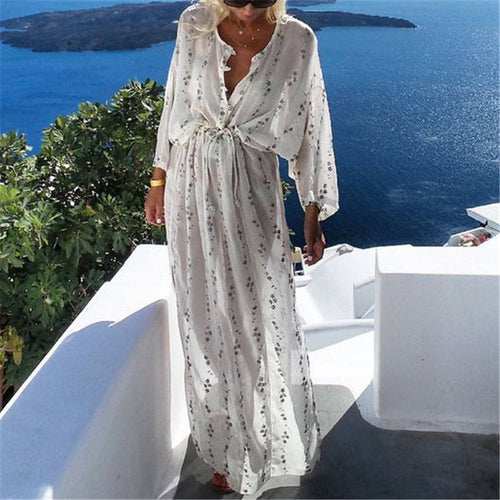 Casual Loose Frenulum   Slim Printing Maxi Dresses