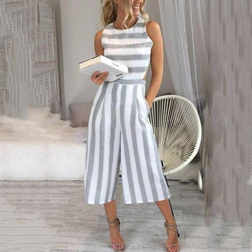 Round Neck  Striped  Sleeveless Jumpsuits