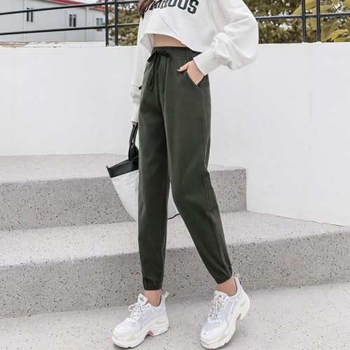 Casual High Waist Show   Thin Frenulum Haren Jogger Pants