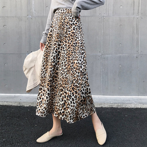Casual High Waist Show   Thin Leopard Print Skirt
