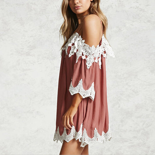 Casual Sexy Off The   Shoulder Sling Lace Splicing Mini Dresses