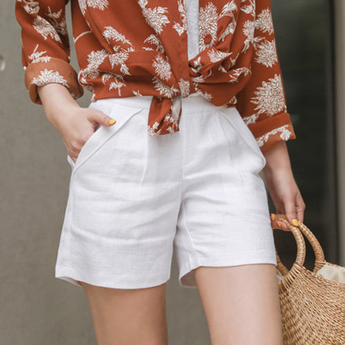 Casual High Waist Slim   Show Thin Pure Color Shorts