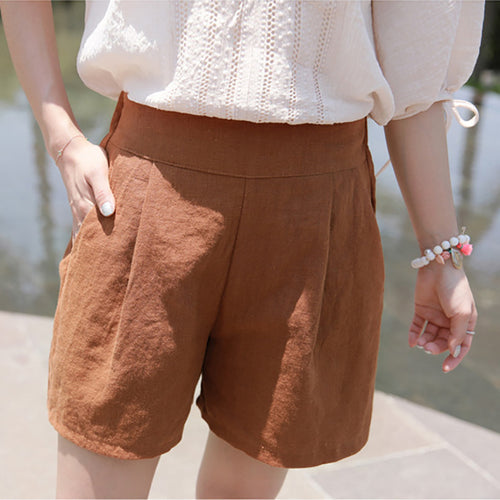 Casual High Waist Slim   Show Thin Pure Color Wide Leg Shorts