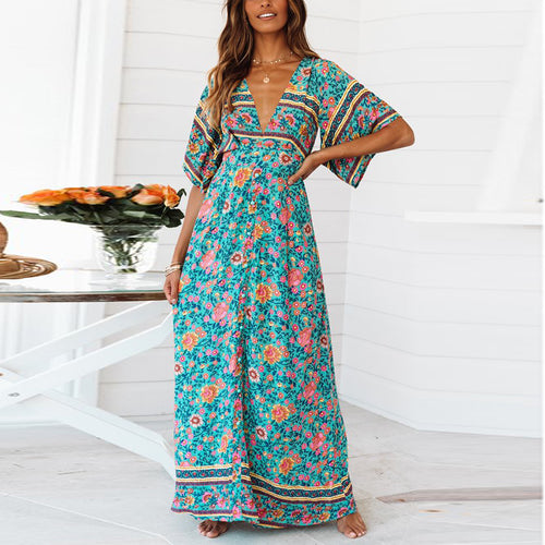 Casual Sexy Deep V   Neck Backless Bohemian Style Floral Print Maxi Dresses