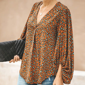 V-Neck Lantern Sleeve Print Top