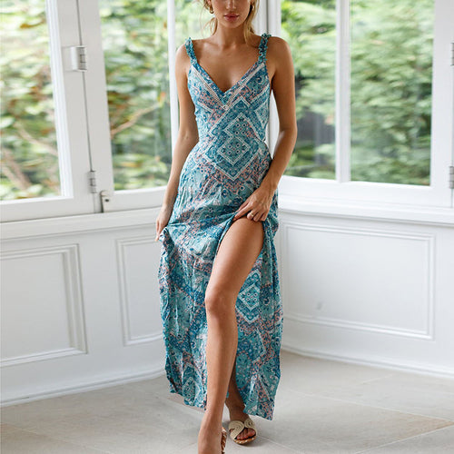 Casual Sexy V Neck   Backless National Style Printing Sling Maxi Dress